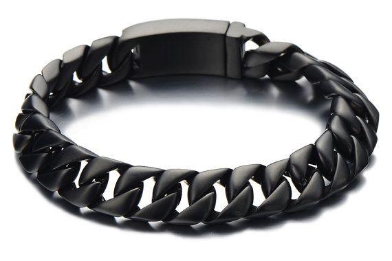 Black Cuban Chain Bracelet Men Black Stainless Steel Curb Chain Bracelet Mens Black Bracelet Mens Bracelet A Mens Chain Bracelet Bracelets For Men Mens Jewelry