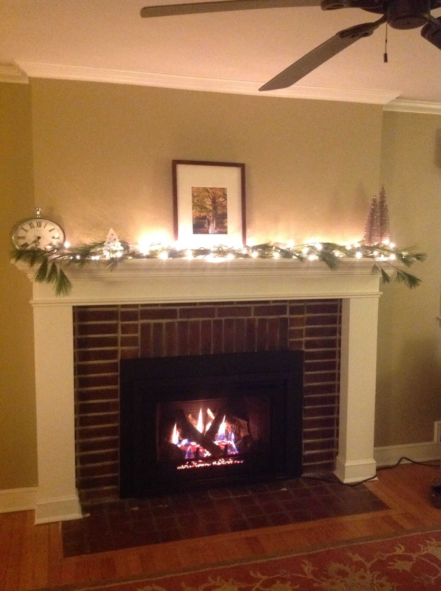 DIY mantle and hearth renovation with gas fireplace insert So cozy