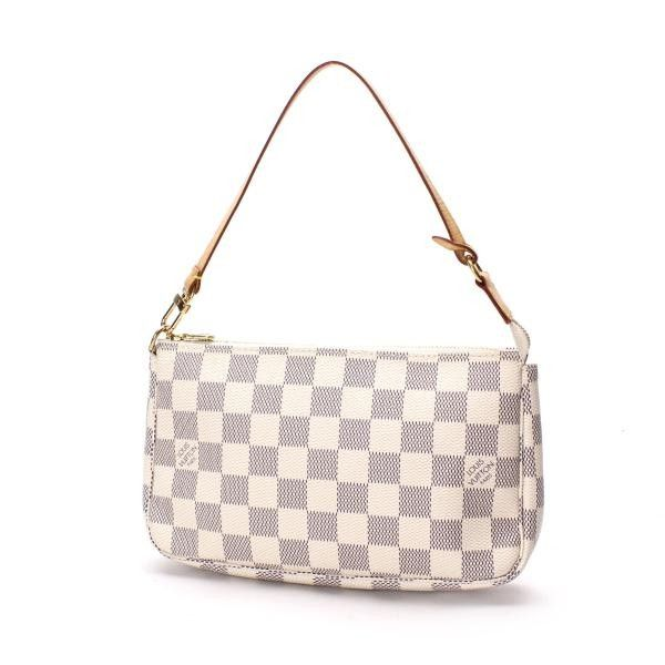 Louis Vuitton Pochette Accessoires  Damier Azur Handle bags White Canvas N51986