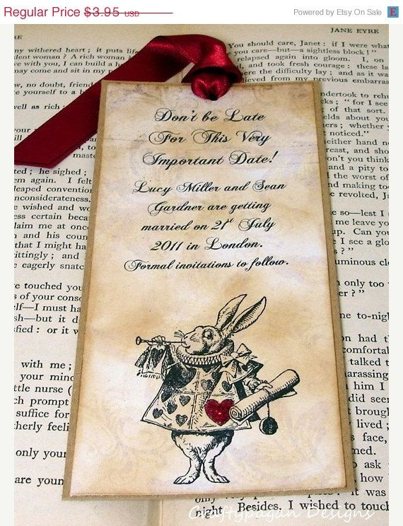 Alice In Wonderland Save The Date Bookmark Vintage Style With