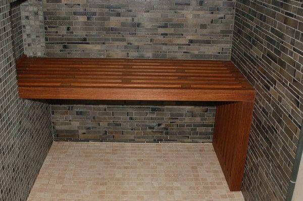 Bathroom Custom Handmade Teak Shower Bench With Mosaic Gray