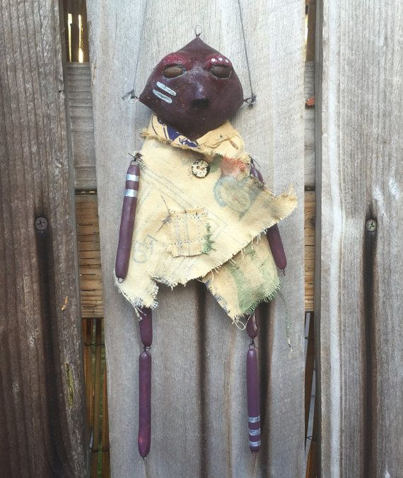 Clay puppet, art doll, home decor, clay doll, clay sculpture, monster doll, creepy cute, wall art, doll wall hanging, clay man figurine