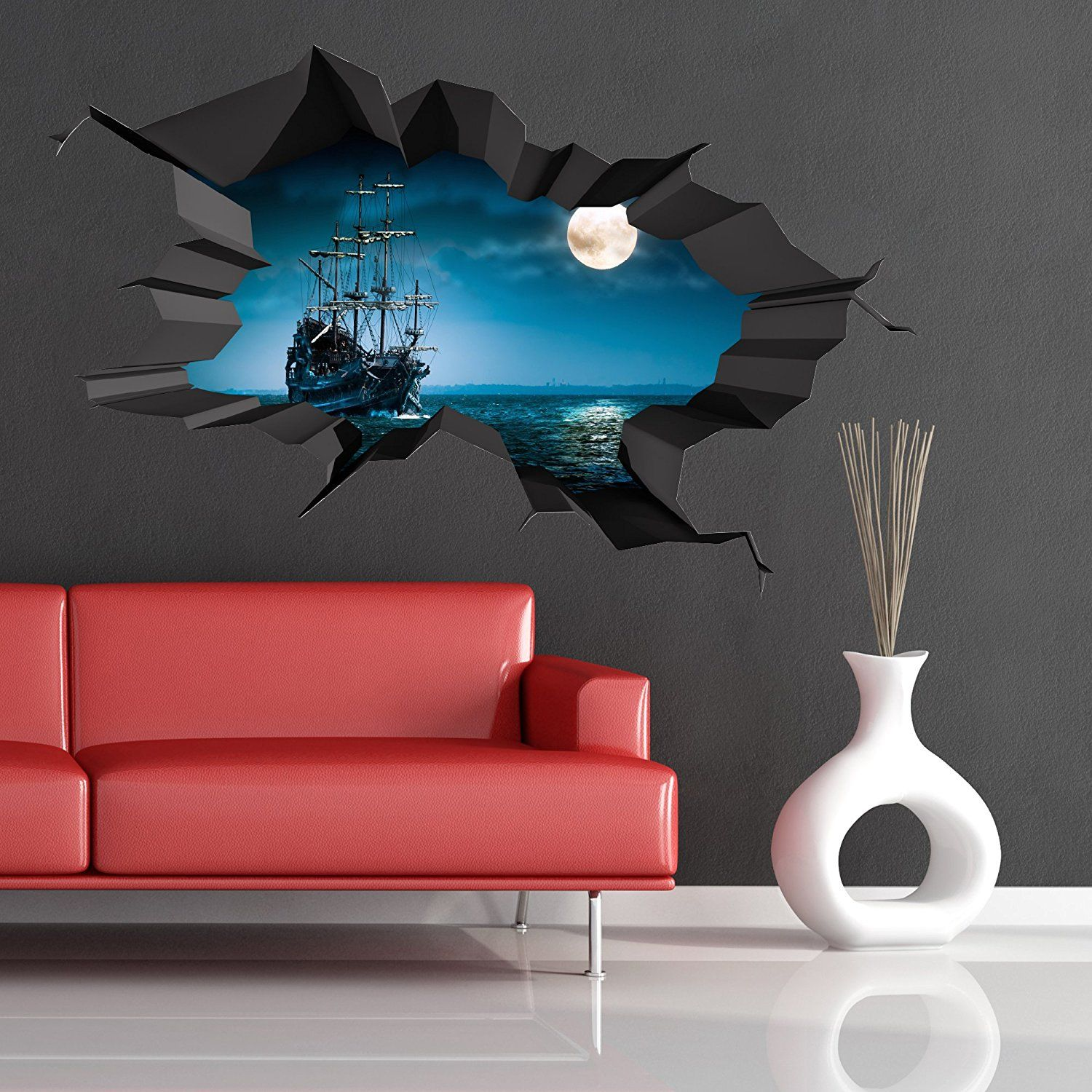 3D Wall Art Captivating Pirate Ship Sea Cave Porthole Moon Cracked 3D Wall Art Sticker Review