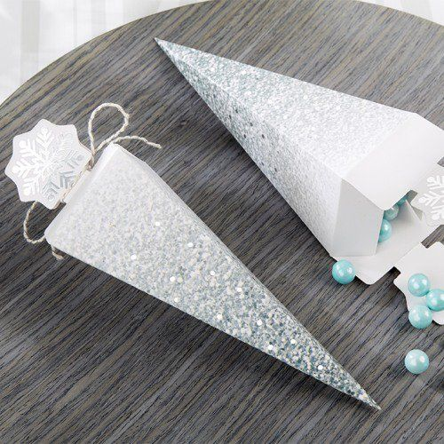 Uniquely designed, these glitter snowflakes cone favor boxes are perfect for holding candy and other small treats.