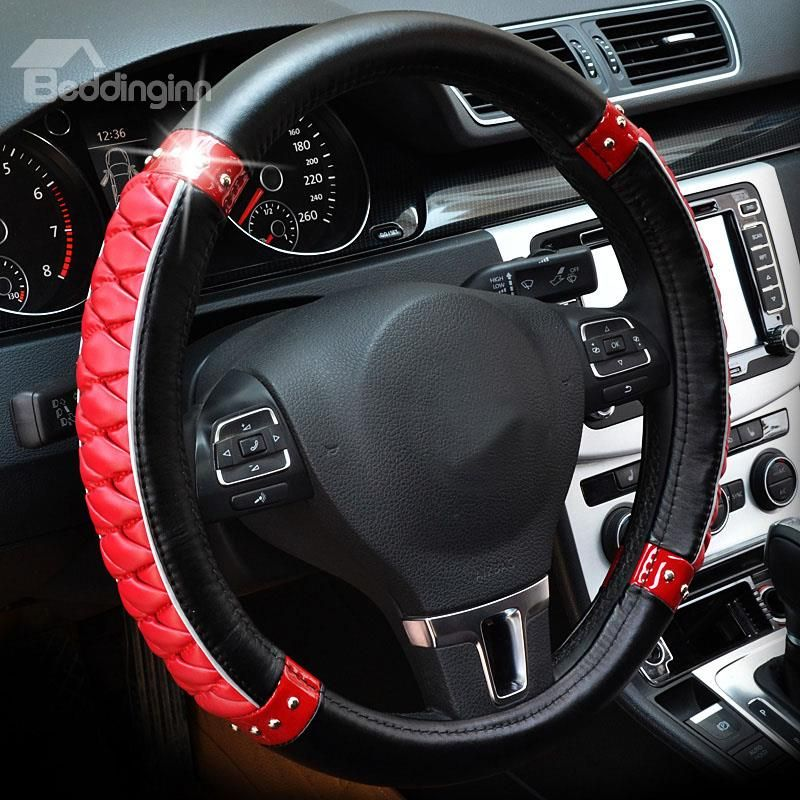 Black Pink Lady Top Favorite Design PU Leather Steering Wheel Cover Stylish