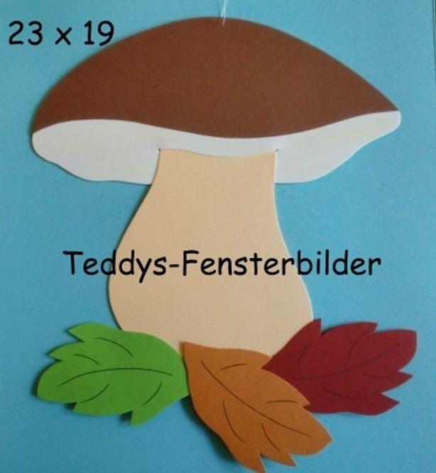 Teddys Fensterbilder 550´Pilz mit Blättern  ` Tonkarton #fensterbilderherbst