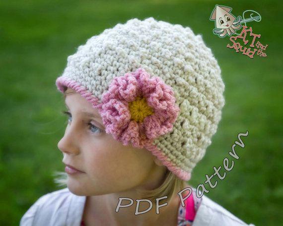 Girls crochet hat pattern, crochet hat pattern with flower, ruffle ...