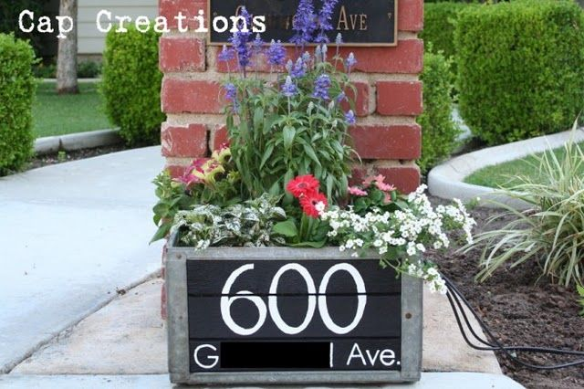 Wood crate address and planter