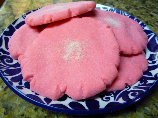 Polvorones Rosas (or Big Pink Mexican Cookies)