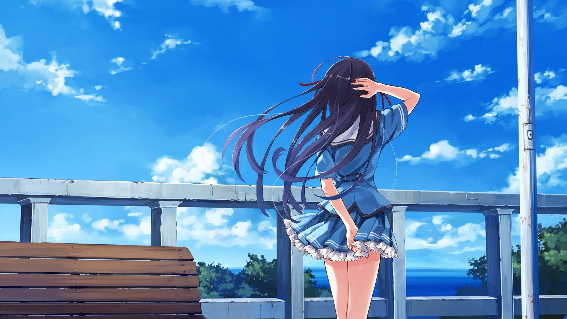 Anime Wallpaper 1920x1080 Anime girls, Deep Blue Sky