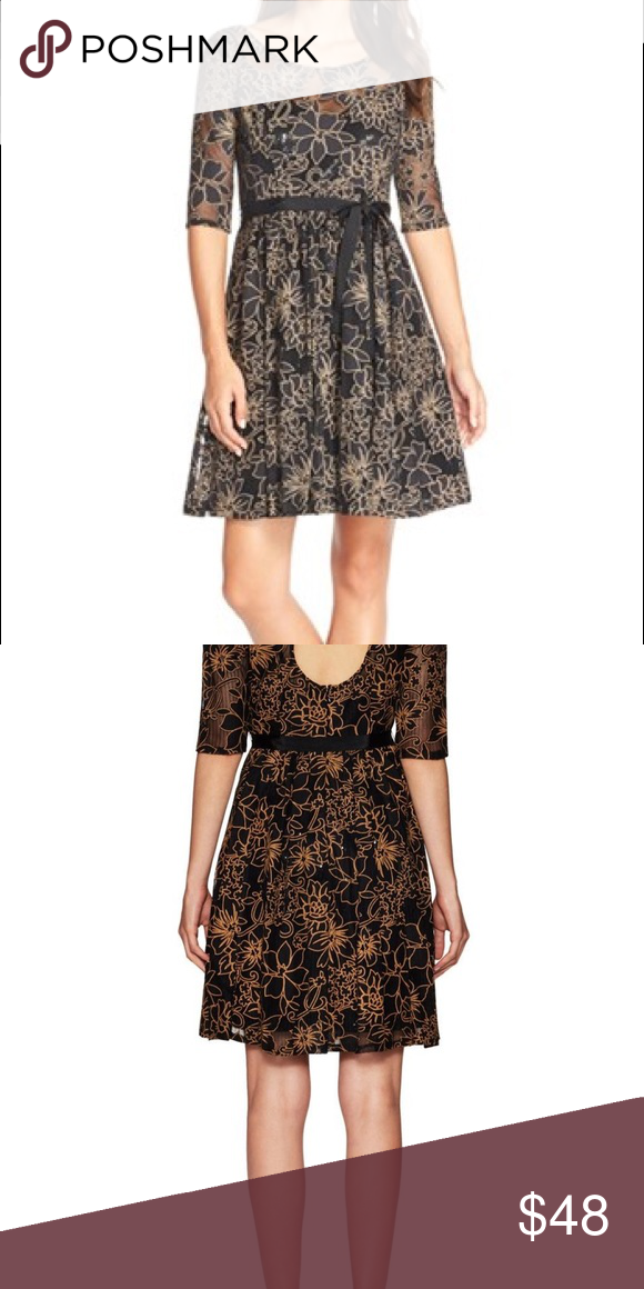479e1556b39b Tracy Reese Black/Tan lace cocktail dress Tracy Reese for Anthropologie-  Perfect for a