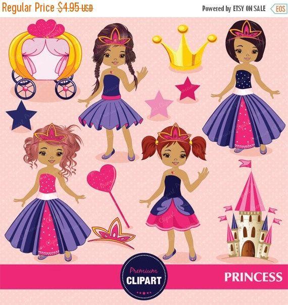 African american princess digital clipart, cute princess, princess ...