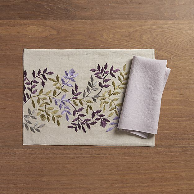 Aveline Lilac Placemat Linen Napkins Placemats Crate And Barrel
