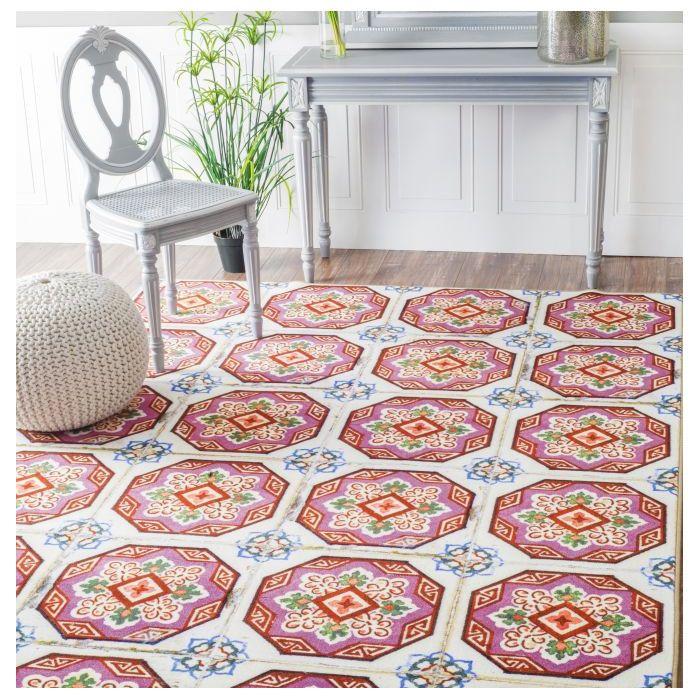 Bungalow Rose Yahoue Tiles Pink Area Rug & Reviews | Wayfair ...