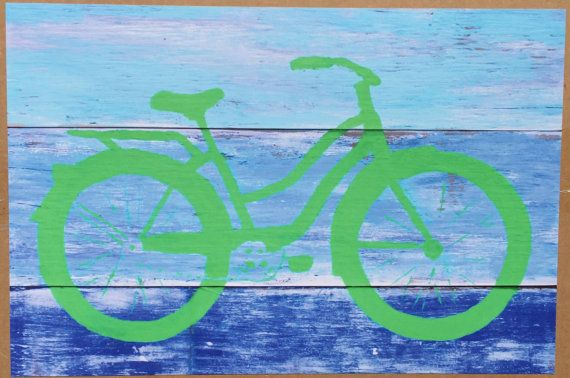 Original Bike Giclee Print Wall Art Green Cruiser Fixie by moesart - Bicycle biking cycling Beach House ocean coastal Cottage Illustration