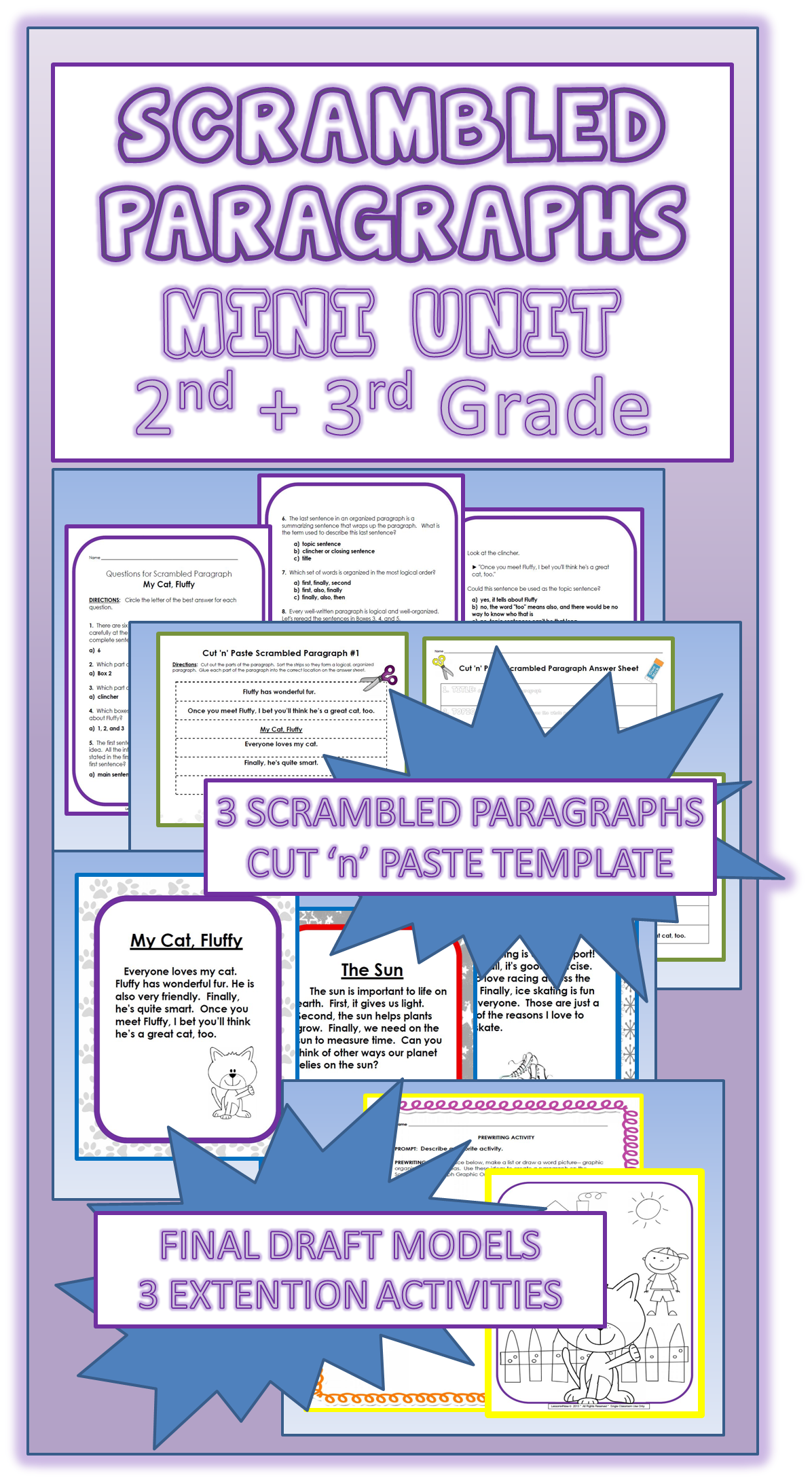 Scrambled Paragraphs Mini Unit Early Elementary Edition