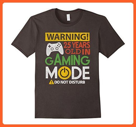 Mens 25th Birthday Gift Shirt 25 Years Old in Gaming Mode Gamer Medium Asphalt - Gamer shirts (*Partner-Link)