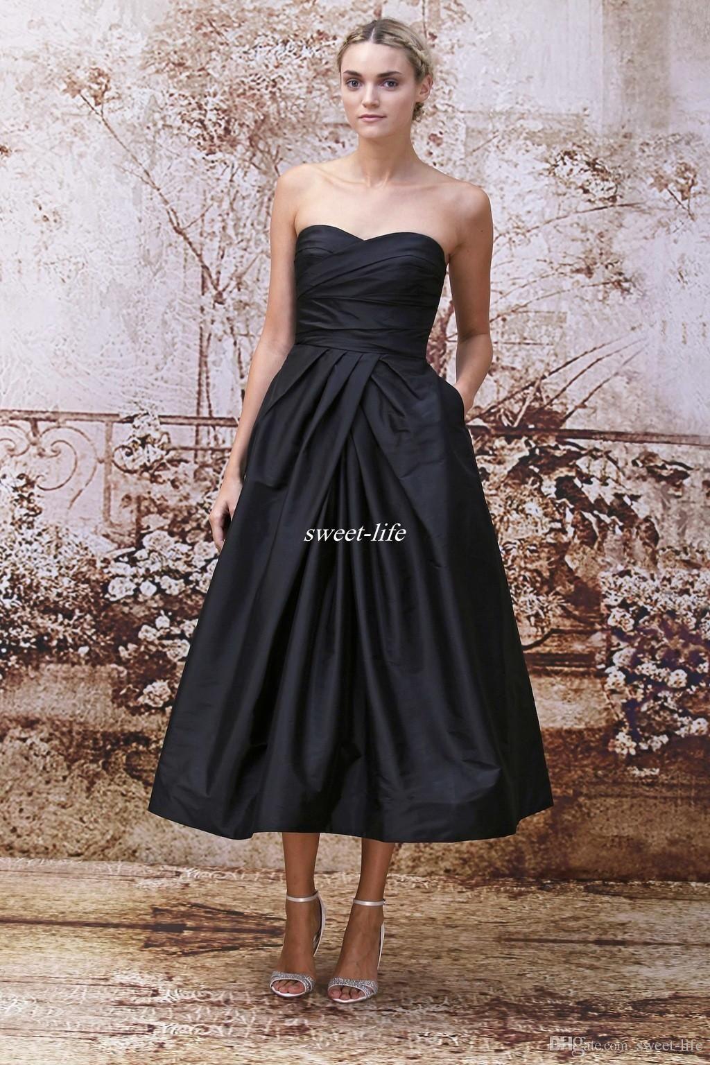 Black Tea Length Bridesmaid Dresses with Pockets Strapless