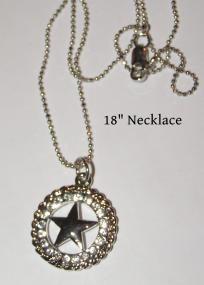 Clear Rhinestone Texas Star Necklace Free Shipping $14