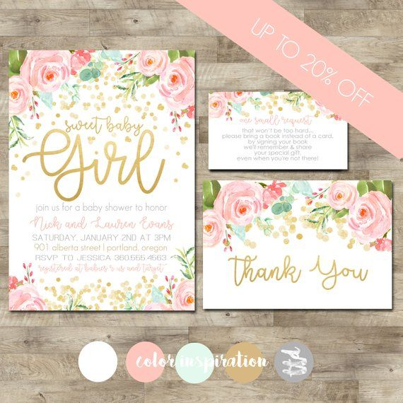 Gold Confetti Baby Shower Package Girl Baby Shower Invitation Girl