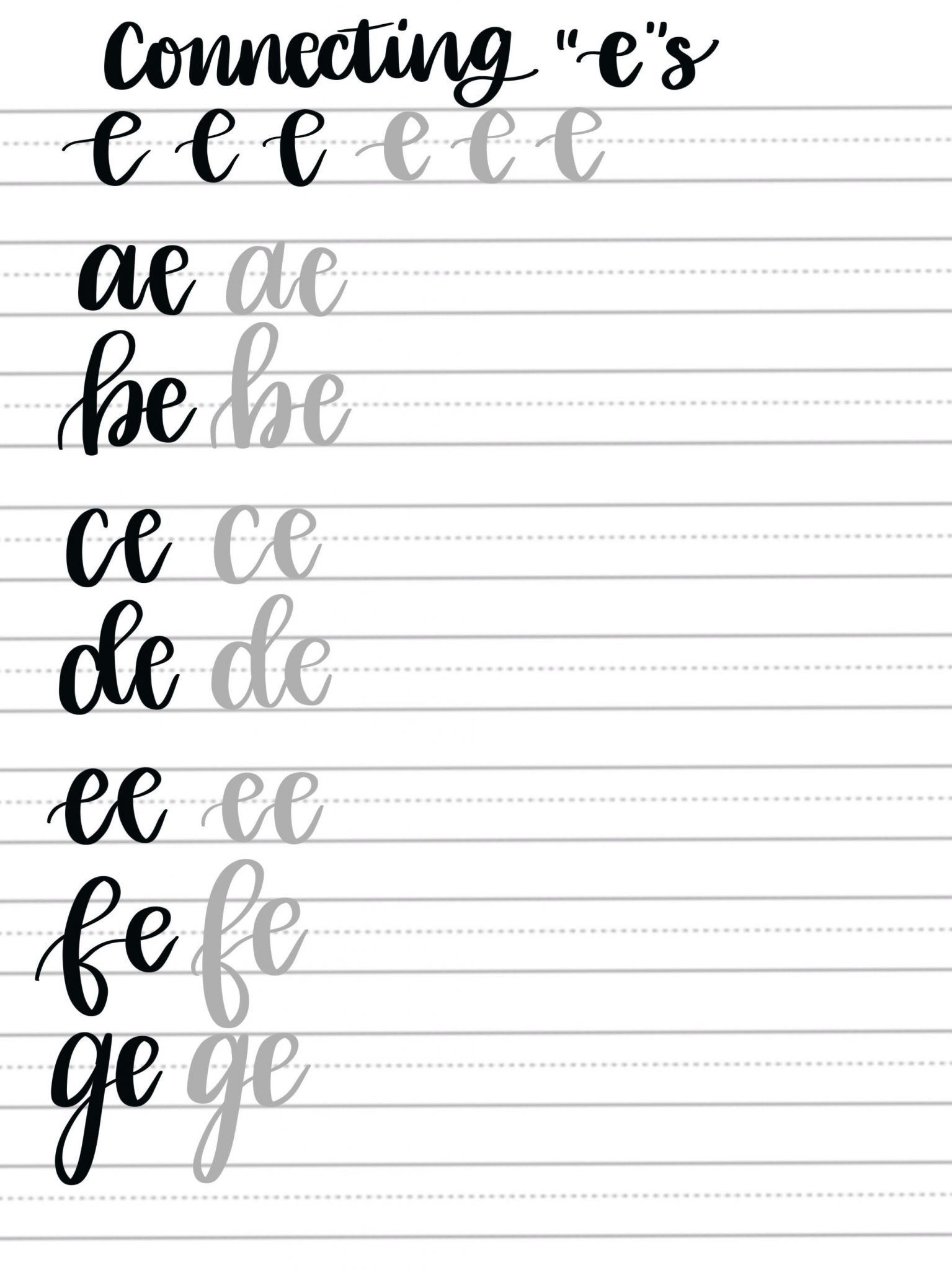 Hand Lettering Practice Pages Connecting Letters