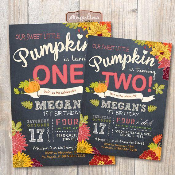 Little Pumpkin Birthday Invitation DIY Card Digital Printable