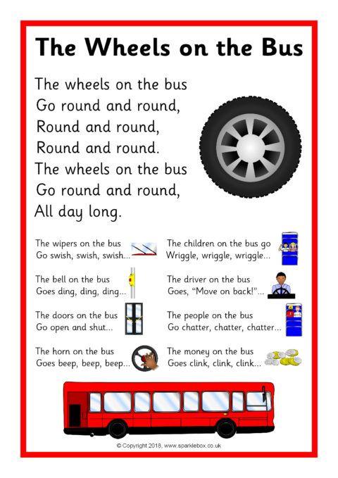 The Wheels On The Bus Song Sheet Sb12479 Sparklebox Nursery