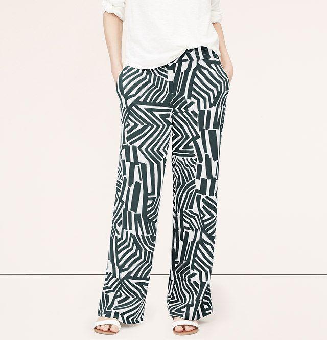 Petite Abstract Zebra Wide Leg Pants | Loft