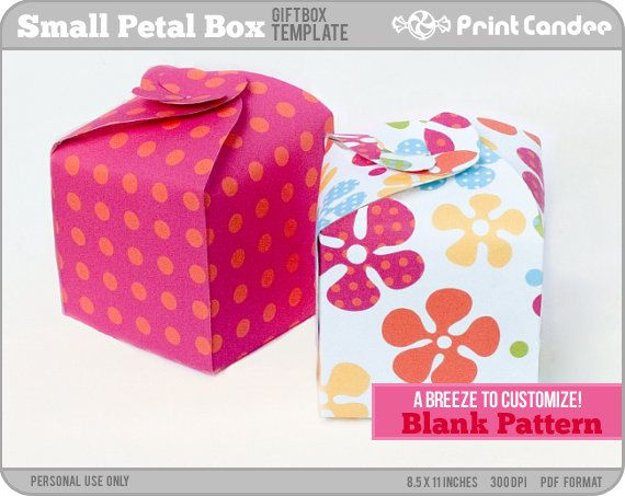 box blank template small petal box personal use only