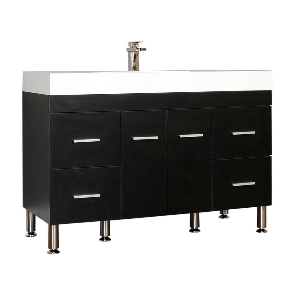 The Modern 47 In W X 19 5 In D Bath Vanity In Black With Acrylic Vanity Top In White With White Basin Hkgb 8042 B Single Bathroom Vanity Vanity Set Bath Vanities
