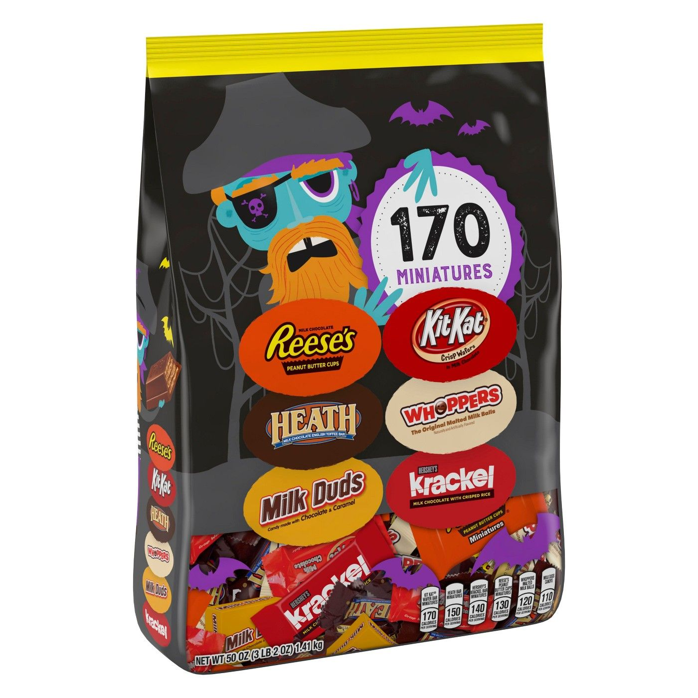 Reese's, Heath, Milk Duds, Kit Kat, Whoppers, and Krackel