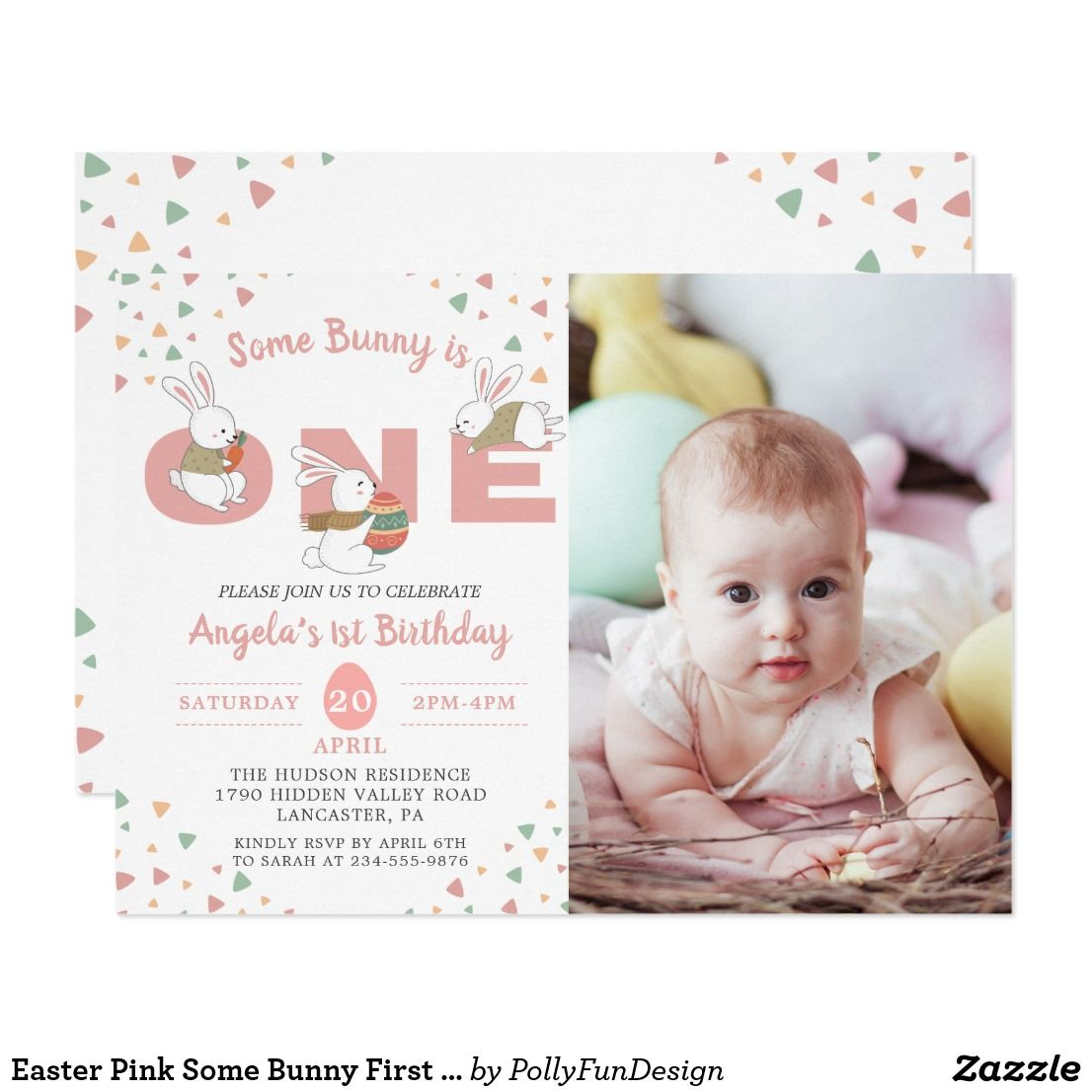 Easter Pink Some Bunny First Birthday Photo Invitation
