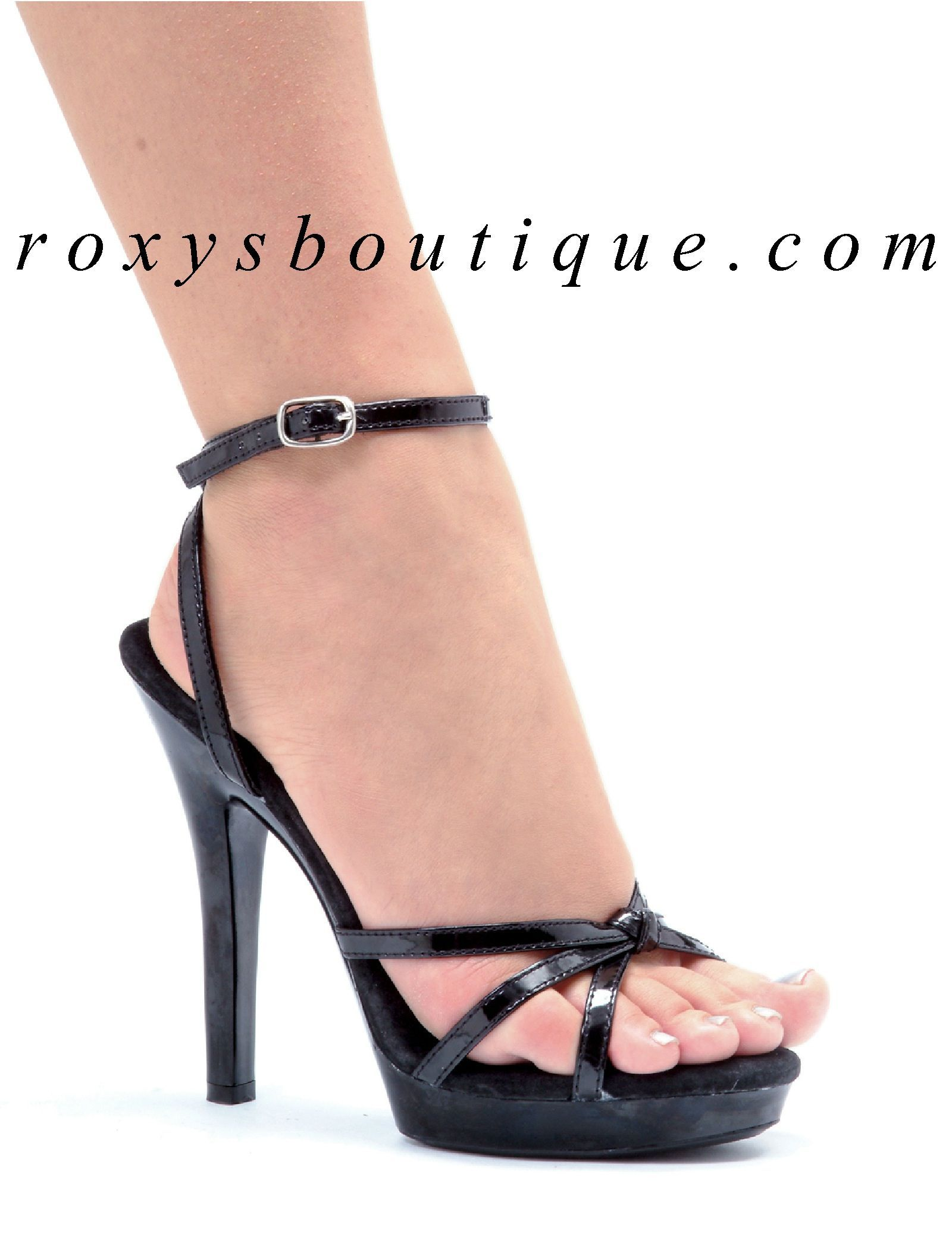43901dd04a62 Black ankle strap sandals with 3/4 inch platforms and 5 inch stiletto heels  - M-Gigi - Ellie Shoes - $57.25 #Stilettoheels
