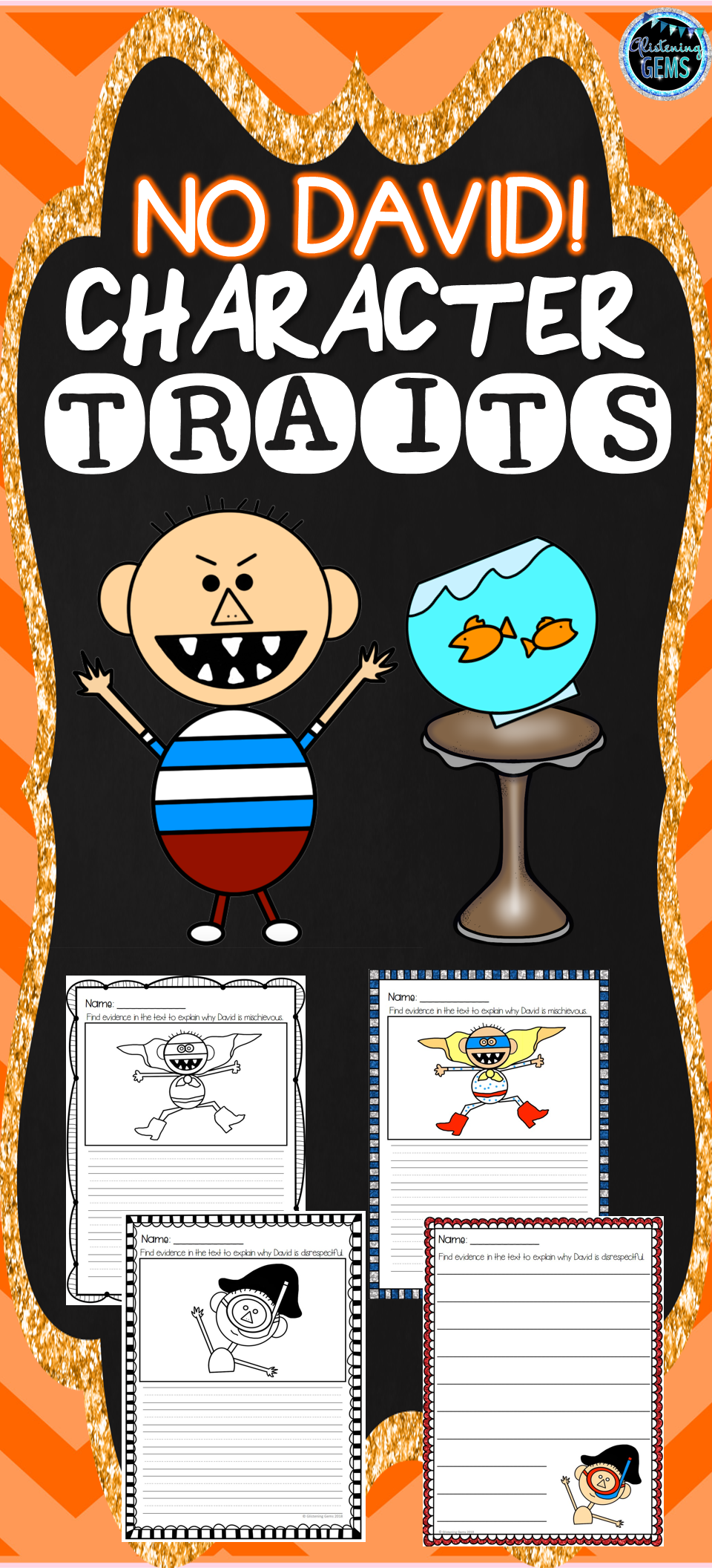 No David Find The Evidence Character Traits Writing Activities Color And Black Lined Worksheets Character Traits Writing No David Literacy Center Activity [ 2112 x 960 Pixel ]