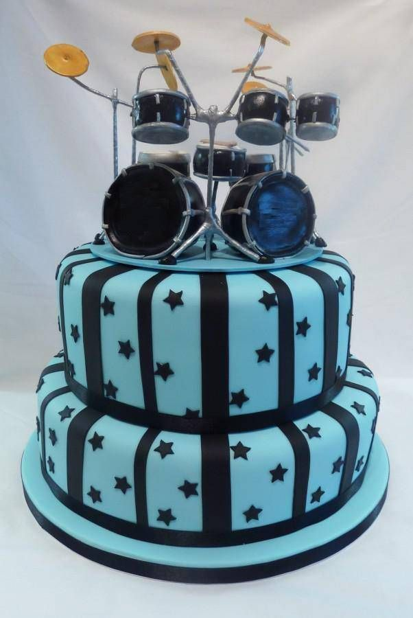 Awesome Drum Kit Cake Topper With Images Drum Birthday Cakes Drum Funny Birthday Cards Online Bapapcheapnameinfo