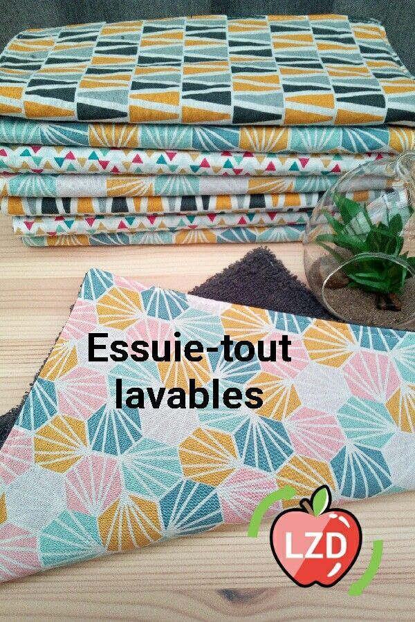 Passez au zéro déchet facilement et tout en couleurs. #zd #zerodechet #zerowaste #lunicecreations #faitmainenfrance #essuietout #lavable #durable #eponge #mouchoirs #sacavrac #ecolo