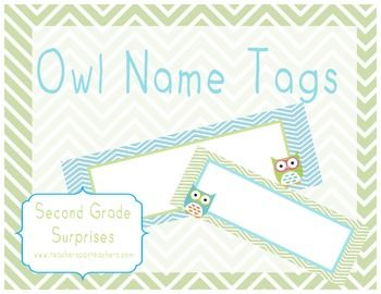 Blue and Green Chevron Owl Desk Name Tags TPT Second Grade Surprises