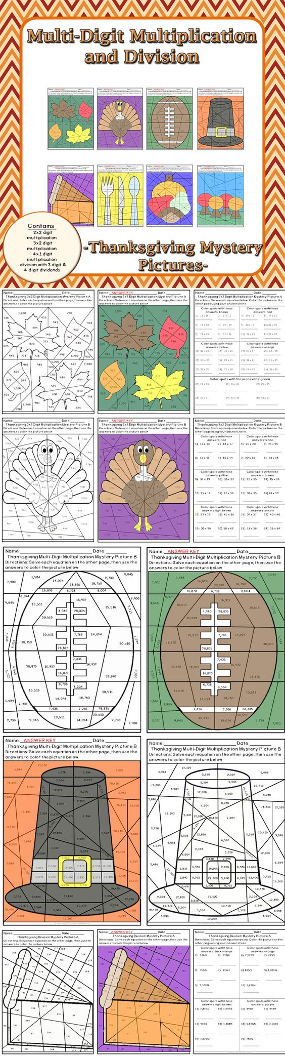 Thanksgiving Multi-Digit Multiplication and Division Mystery ...