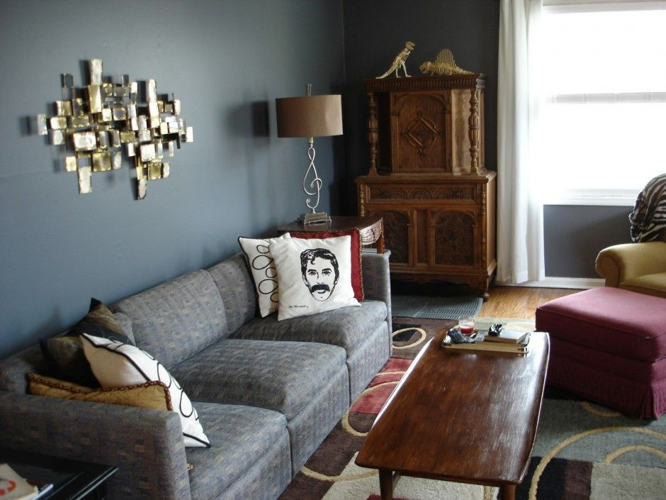 Depiction Of Living Room Design With Gray Sofa Displays