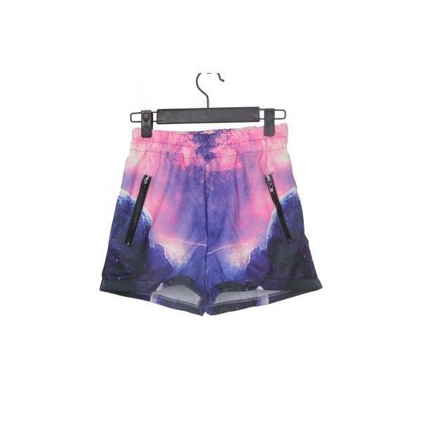 Purple and Pink Zipper Embellished Trun Back Galaxy Shorts ($27) ❤ liked on Polyvore