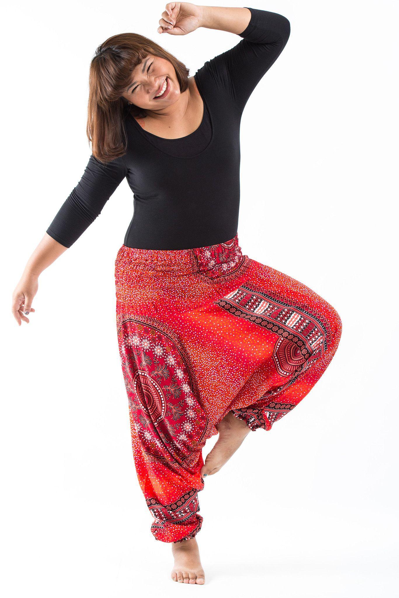 ff11756f3b188 Plus Size Tribal Chakras Drop Crotch Women s Harem Pants in Red ...