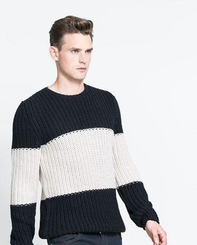 f7977c93e8f0 Imagem 3 de CAMISOLA MALHA RISCAS da Zara | vestidos | Sweater ...