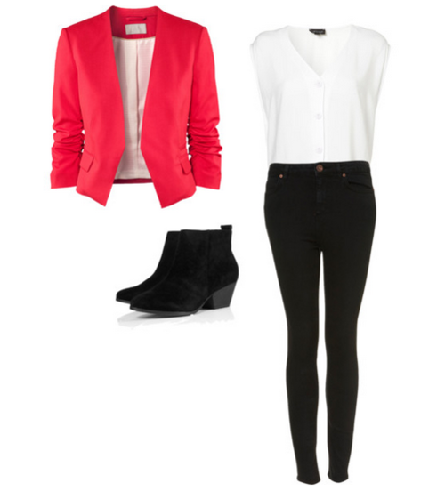 Inspired outfit with topshop blouse & red blazer  Blazer  Blouse  Jeans  Shoes