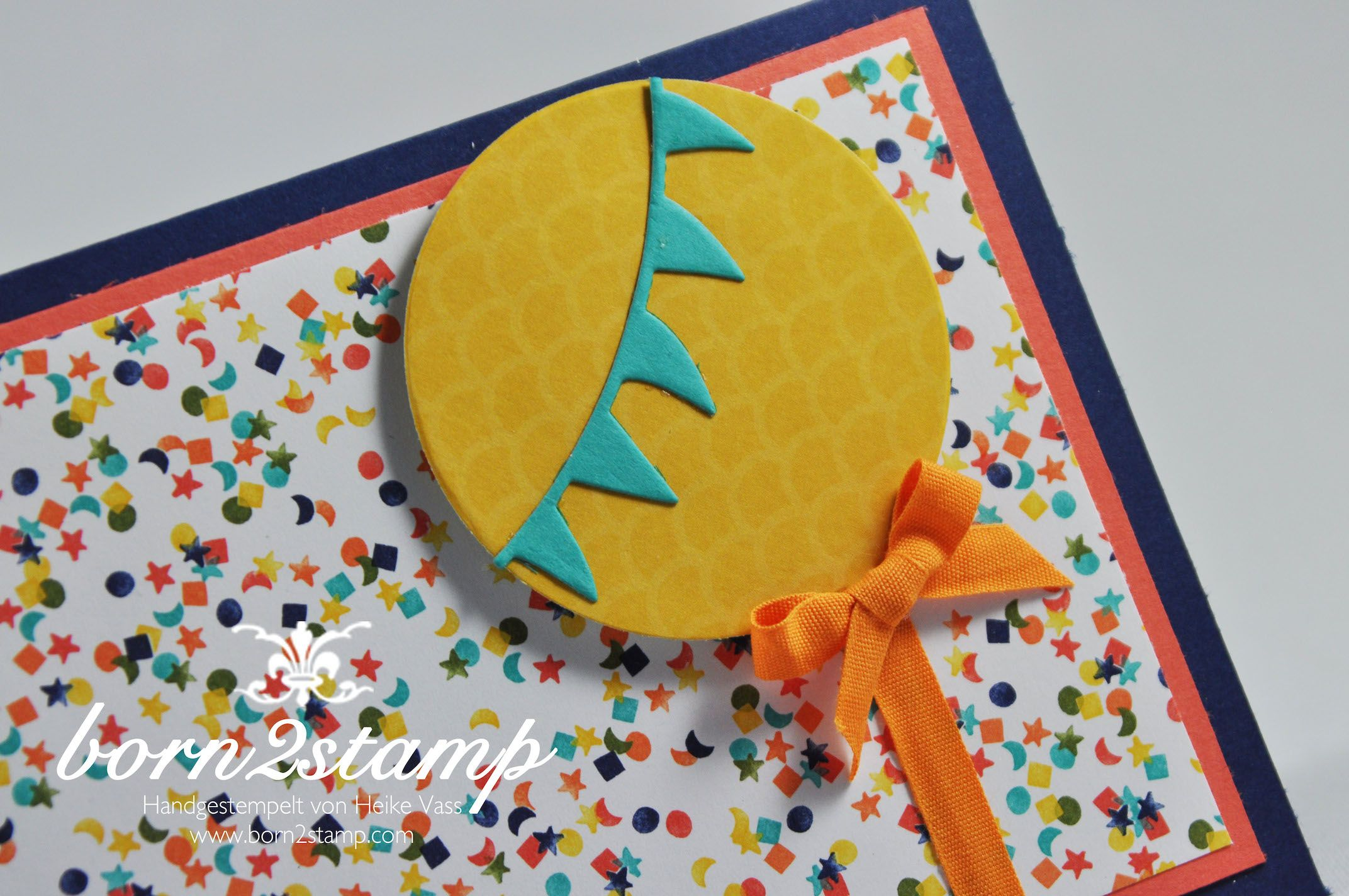 STAMPIN' UP! born2stamp Geburtstagskarte Mein Lichtblick DSP Geburtstagsparty Balloon Framelits Baumwollband
