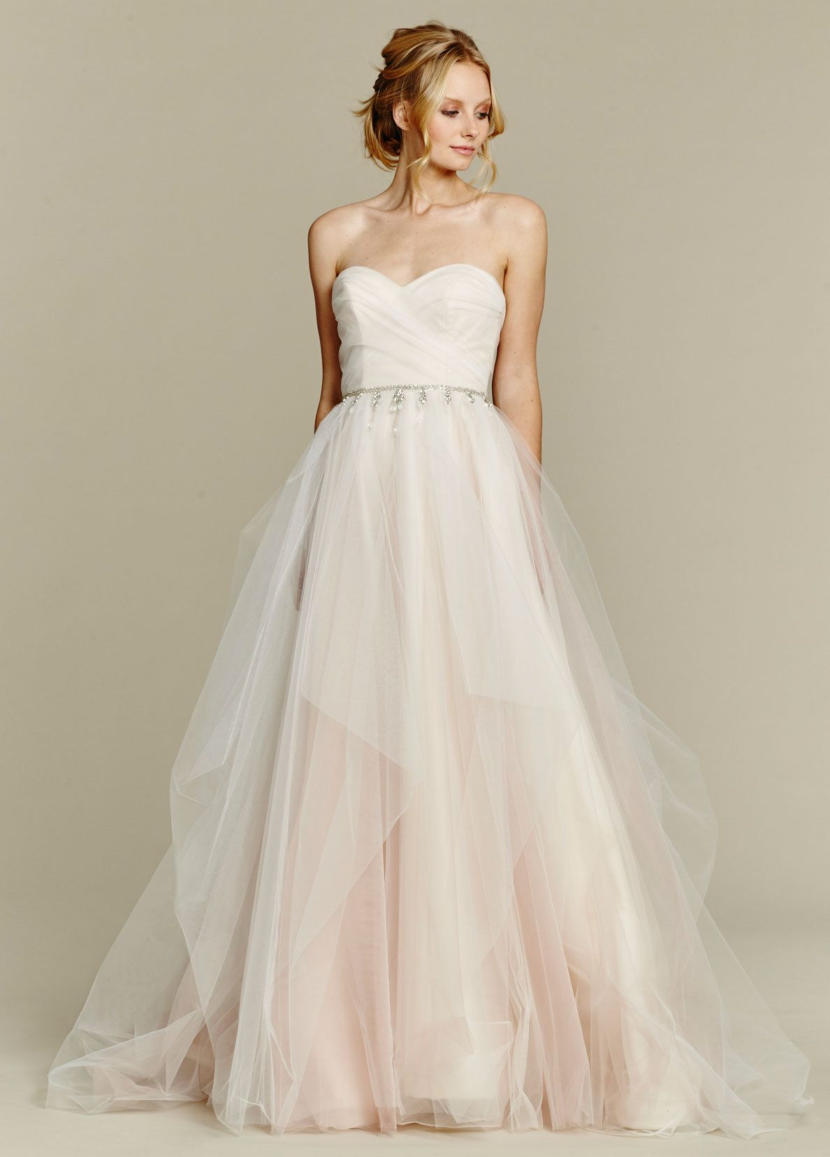 Dolce cherry blossom draped tulle bridal ball gown strapless