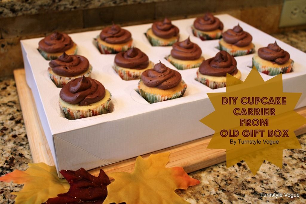 DIY Cupcake Carrier From Old Gift Box Displaying