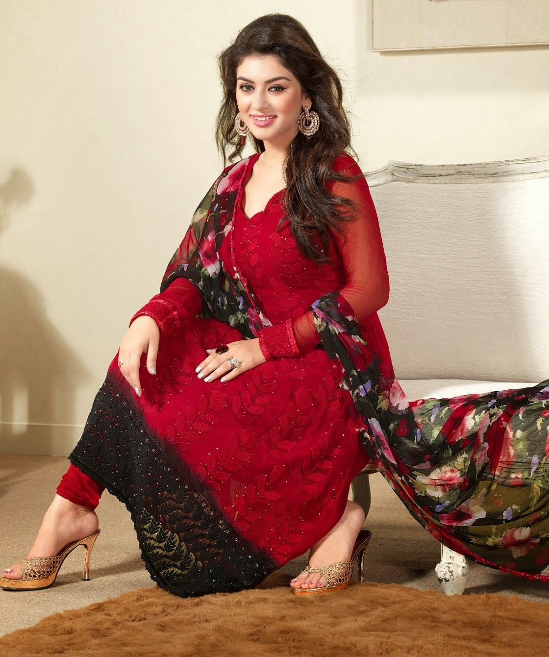 Red And Black Color Simple #Salwar Kameez Designs