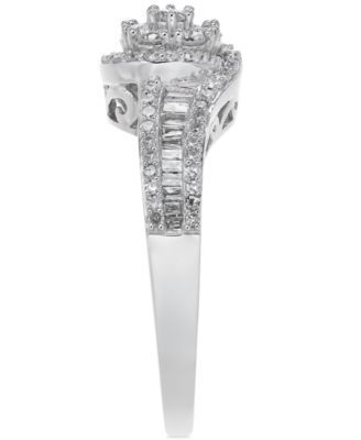 Promised Love Diamond Halo Promise Ring In Sterling Silver 1 2 Ct T W Reviews Rings Jewelry Watches Macy S In 2021 Halo Diamond Promise Rings Halo Diamond Ring