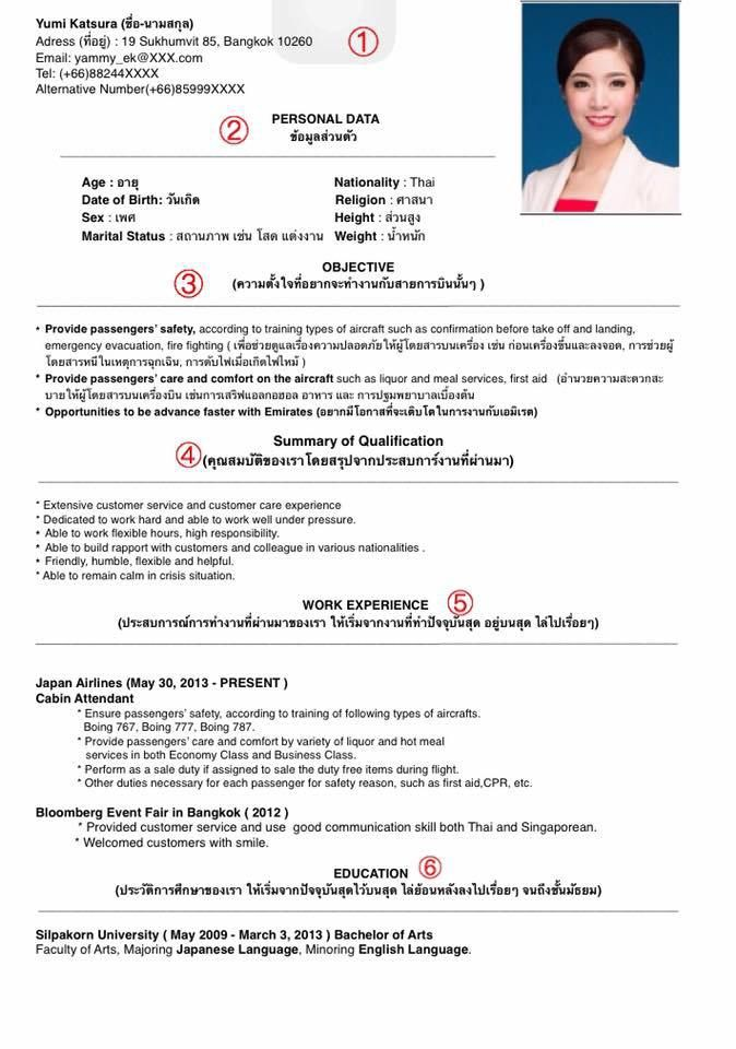 sample cv for cabin crew