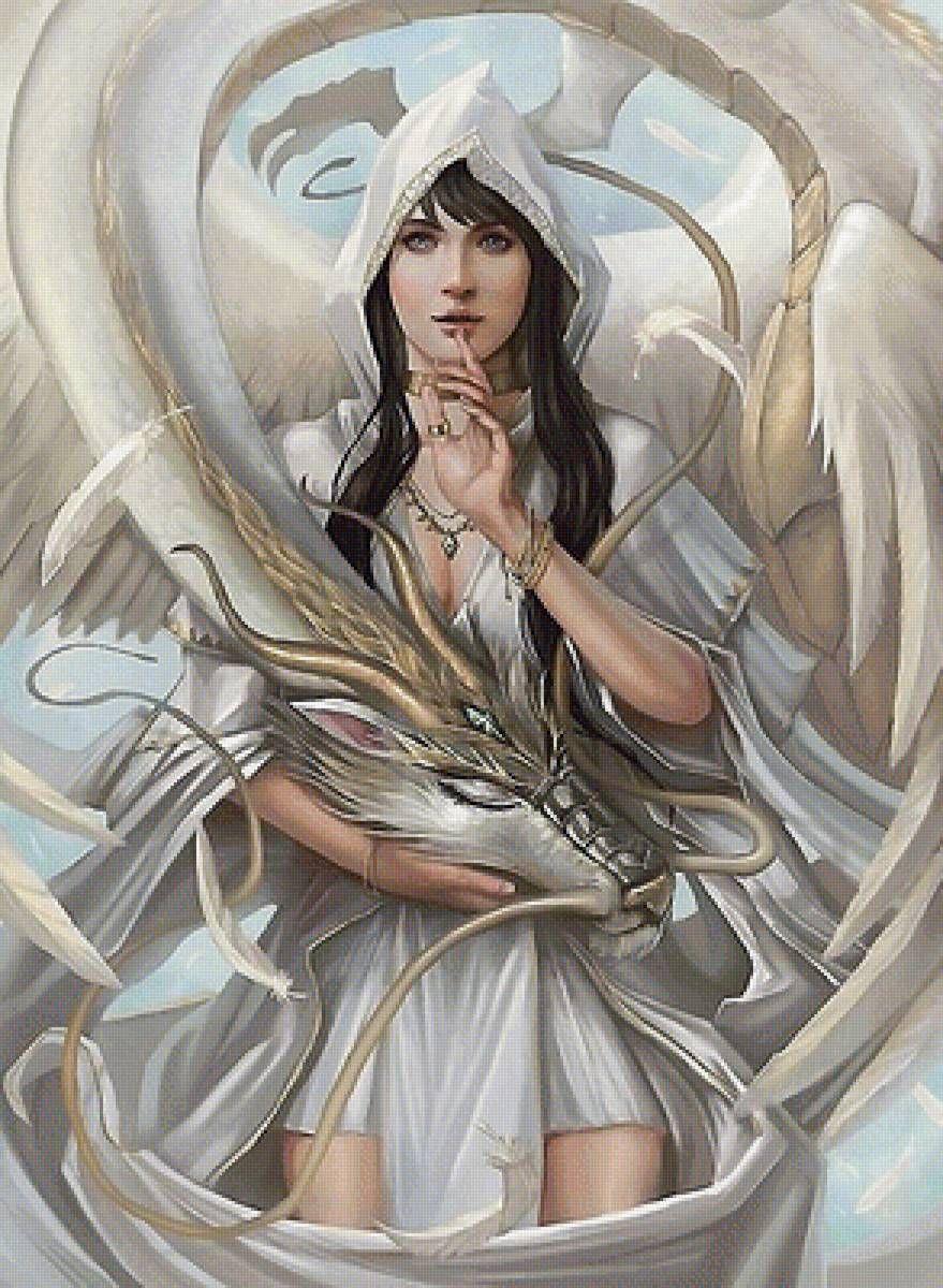 Схема девушка с драконом